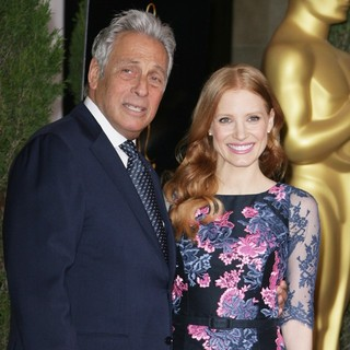 Hawk Koch, Jessica Chastain in 85th Academy Awards Nominees Luncheon