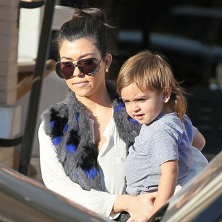 Kourtney Kardashian, Mason Disick in Kourtney Kardashian, Scott Disick and Mason Exit Barney's New York After Christmas Shopping
