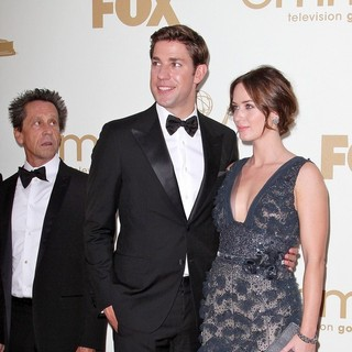 Brian Grazer, John Krasinski, Emily Blunt in The 63rd Primetime Emmy Awards - Arrivals