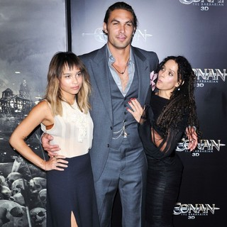 Zoe Kravitz, Jason Momoa, Lisa Bonet in The LA Premiere of Conan the Barbarian