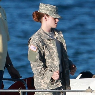 Kristen Stewart in Filming of Film Camp X-Ray