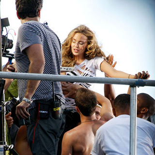 Kylie Minogue during the filming of a music video