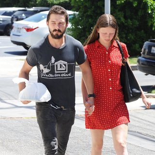 Shia LaBeouf, Mia Goth in Shia LaBeouf Holds Hands with Mia Goth
