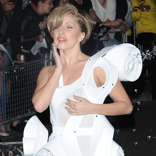 Lady GaGa in Lady GaGa Seen Leaving Camden RoundHouse in A Bubble Machine Outfit Blowing Bubbles
