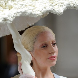 Lady GaGa in Lady GaGa Seen Leaving Her Hotel Under A Shell Umbrella