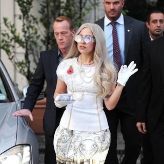Lady GaGa in Lady GaGa Leaving Her Hotel Carrying A Cup and Saucer