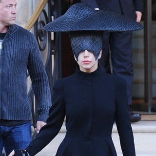 Lady GaGa in Lady GaGa Seen Leaving Her London Hotel Wearing A Black Head Piece for Halloween
