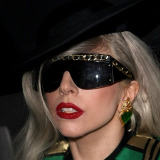 Lady GaGa in Lady GaGa Leaving The ITV Studios Wearing A Large Black Hat