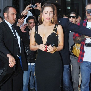 Lady GaGa Is Mobbed by Fans as She Leaves The Hotel Principe di Savoia