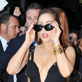 Lady GaGa in Lady GaGa Is Mobbed by Fans as She Leaves The Hotel Principe di Savoia