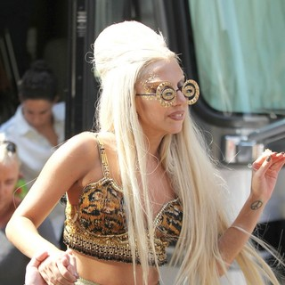 Lady GaGa - Lady GaGa Is Seen on The Set of Photo Shoot Wearing An Outlandish Costume
