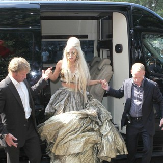 Lady GaGa in Lady GaGa Is Seen on The Set of Photo Shoot Wearing An Outlandish Costume