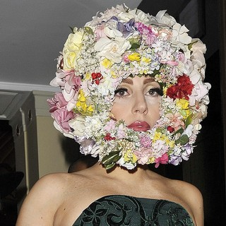 Lady GaGa - Lady GaGa Leaving Her Hotel Wearing A Green Dress and A Headpiece Made of Flowers