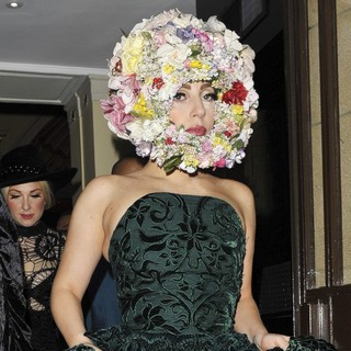 Lady GaGa in Lady GaGa Leaving Her Hotel Wearing A Green Dress and A Headpiece Made of Flowers