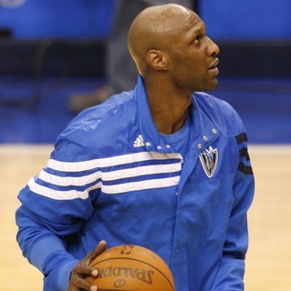 Lamar Odom Warming Up for The Dallas Mavericks as They  Take on Utah Jazz