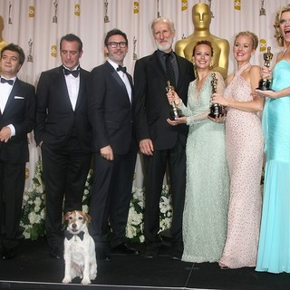 Thomas Langmann, Jean Dujardin, Michel Hazanavicius, James Cromwell, Berenice Bejo, Penelope Ann Miller, Missi Pyle in 84th Annual Academy Awards - Press Room