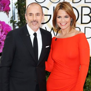 Matt Lauer, Savannah Guthrie in 71st Annual Golden Globe Awards - Arrivals