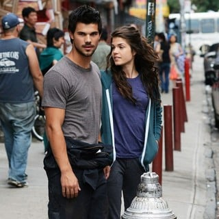 Taylor Lautner, Marie Avgeropoulos in Filming of Action Movie Tracers on Location