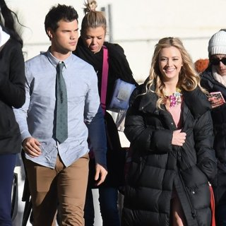 Taylor Lautner, Billie Lourd-On Set Filming Scream Queens