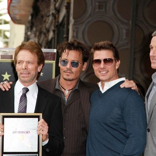 Martin Lawrence, Jerry Bruckheimer, Johnny Depp, Tom Cruise, Bob Iger in Jerry Bruckheimer Honored on The Hollywood Walk of Fame