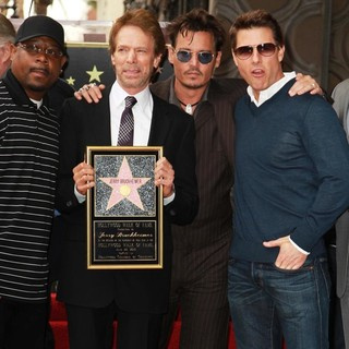 Martin Lawrence, Jerry Bruckheimer, Johnny Depp, Tom Cruise in Jerry Bruckheimer Honored on The Hollywood Walk of Fame