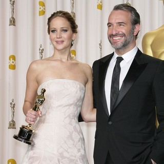 Jennifer Lawrence, Jean Dujardin in The 85th Annual Oscars - Press Room