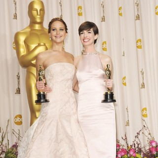 Jennifer Lawrence, Anne Hathaway in The 85th Annual Oscars - Press Room