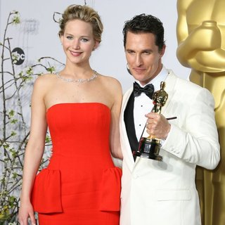 Jennifer Lawrence, Matthew McConaughey in The 86th Annual Oscars - Press Room