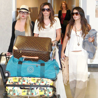 Ashley Tisdale, Vanessa Hudgens in Ashley Tisdale and Vanessa Hudgens Arrive at LAX from A Holiday at Cabos San Luca in Mexico