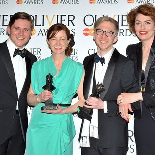 Allen Leech, Bunny Christie, Finn Ross, Anna Chancellor in The Olivier Awards 2013 - Press Room