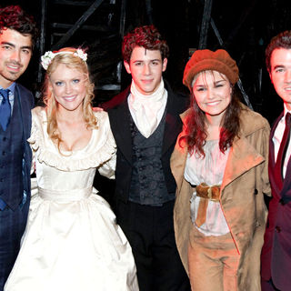 Joe Jonas, Jonas Brothers, Samantha Barks, Nick Jonas, Camilla Kerslake, Kevin Jonas in The Curtain Call for 'Les Miserables'
