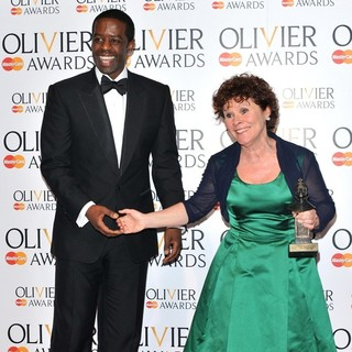 Adrian Lester, Imelda Staunton in The Olivier Awards 2013 - Press Room