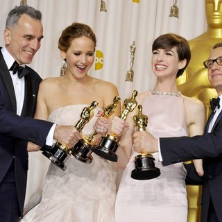 Daniel Day-Lewis, Jennifer Lawrence, Anne Hathaway, Christoph Waltz in The 85th Annual Oscars - Press Room