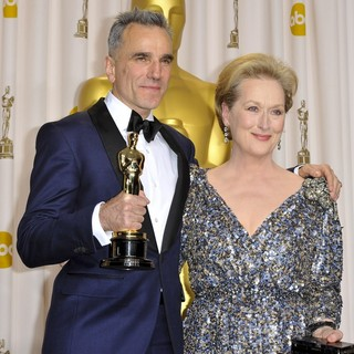 Daniel Day-Lewis, Meryl Streep in The 85th Annual Oscars - Press Room