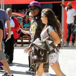 Lil Wayne, Dhea Sodano in Lil Wayne Seen Arriving The Staples Center for LA Lakers vs Miami Heat Basketball Game