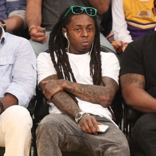 Lil Wayne in Celebrities Watch The LA Lakers Playoff Game