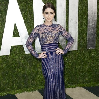 Lily Collins in 2013 Vanity Fair Oscar Party - Arrivals