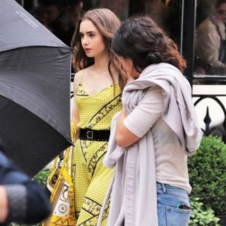 Lily Collins Seen Filming Scenes for Netflix Series Emily in Paris