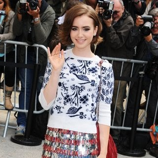 Lily Collins in Paris Fashion Week Haute Couture Fall-Winter 2014-2015 - Chanel - Outside Arrivals