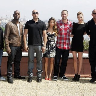 Justin Lin, Tyrese Gibson, Vin Diesel, Elsa Pataky, Paul Walker, Gal Gadot, The Rock in A Photocall for Fast Five