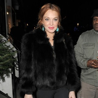 Lindsay Lohan in Lindsay Lohan Arrives at Nozomi Restaurant with Her Minder and Some Friends