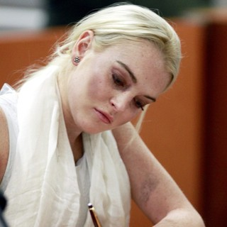 Lindsay Lohan in Lindsay Lohan Before Being Escorted from The Courtroom in Handcuffs