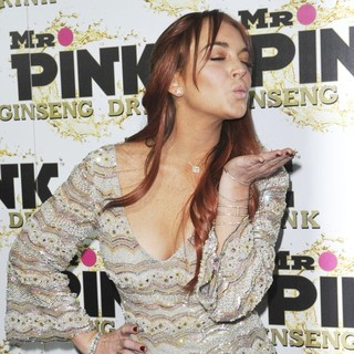 Lindsay Lohan in Mr. Pink's Ginseng Energy Drink Launch - Arrivals