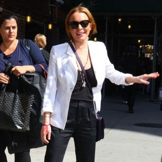 Lindsay Lohan in Celebrities at The Ed Sullivan Theater for The Late Show with David Letterman