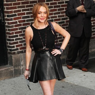 Lindsay Lohan Departs The Ed Sullivan Theater After Taping The Late Show with David Letterman