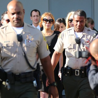 Lindsay Lohan in Lindsay Lohan Is Seen Leaving A Los Angeles Court for Her Car Crash Case Pretrial Hearing