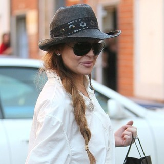 Lindsay Lohan in Lindsay Lohan Leaving Make Up for Ever via The Back Door