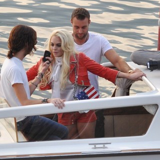 Lindsay Lohan in Lindsay Lohan Takes Part in A Photoshoot for German Brand Philipp Plein on Lake Como