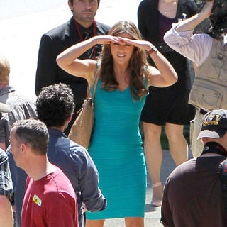 Elizabeth Hurley in Shooting Scenes for The New TV Movie 'Wonder Woman'