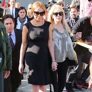 Lindsay Lohan, Dina Lohan in Lindsay Lohan Is Seen Leaving A Los Angeles Court for Her Car Crash Case Pretrial Hearing